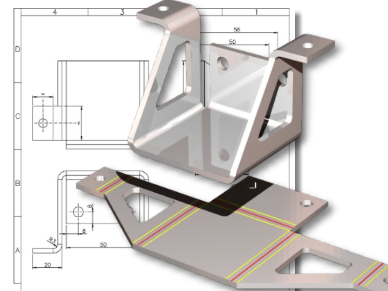 3D sheet metal design and unfolding - 3D steel frame designer using Pictures by PC CAD software.